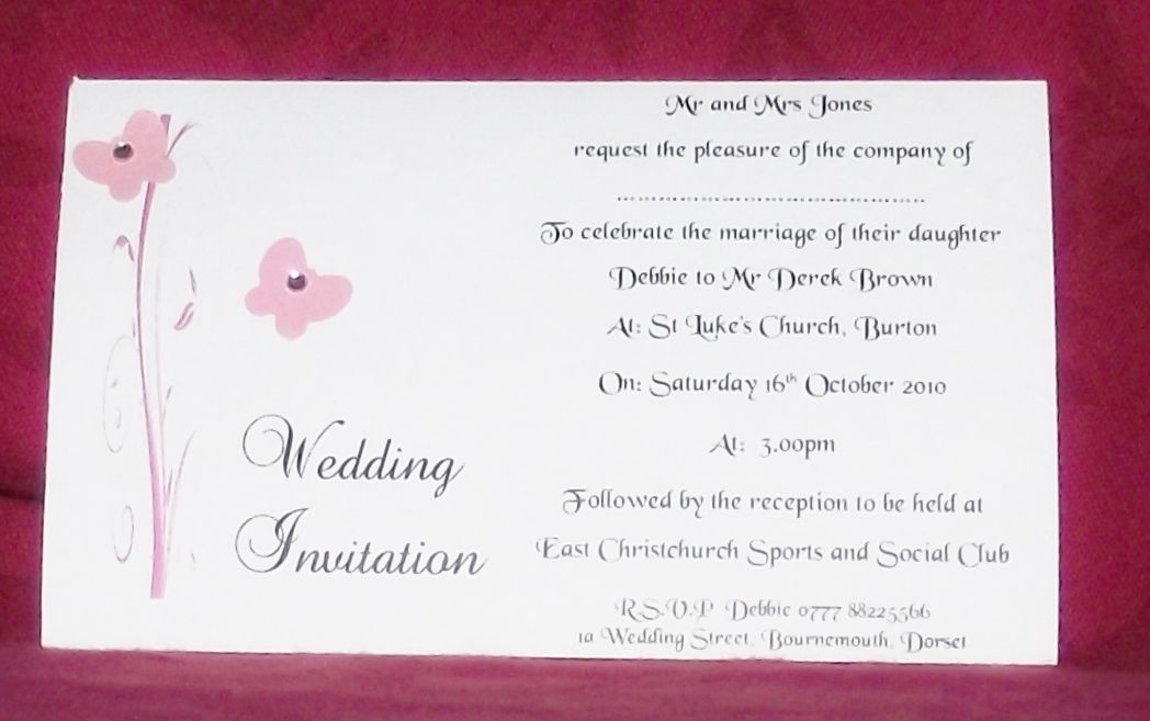 Wedding invitations Day or Evening Personalised Butterfly Scroll ...